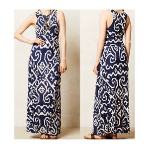 Anthropologie | Maeve Navy & Cream Maxi Dress Sz L